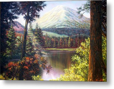 Landscape-lake And Trees Metal Print