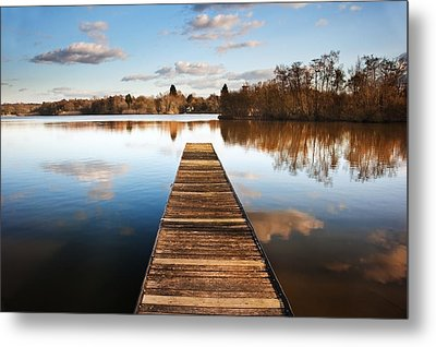 Landscape Of Fishing Jetty On Calm Lake At Sunset With Reflectio Metal Print by Matthew Gibson