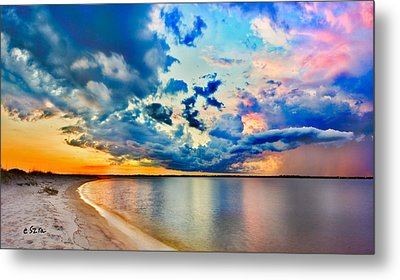 Landscape Panorama-blue Purple Pink Cloud Sunset Reflection Metal Print