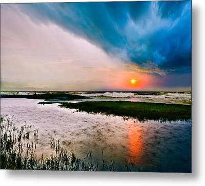 Metal Print featuring the photograph Landscape-storm At Sea Sunset-rain Ripples-blue Clouds by Eszra