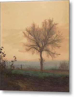 Landscape With A Bare Tree And A Plowman Léon Bonvin Metal Print