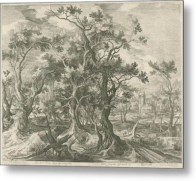 Landscape With A Prophet Torn By A Lion From Judah Metal Print by Jan Van Londerseel And Gillis Claesz. De Hondecoeter And Claes Jansz. Visscher Ii