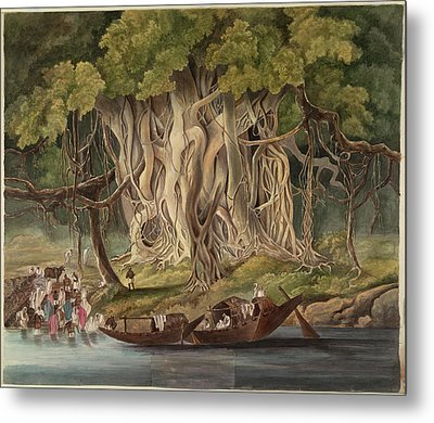 Landscape With Banyan Tree Metal Print by British Library