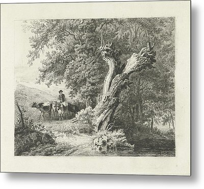 Landscape With Bare Tree And Shepherd, Constantinus Metal Print