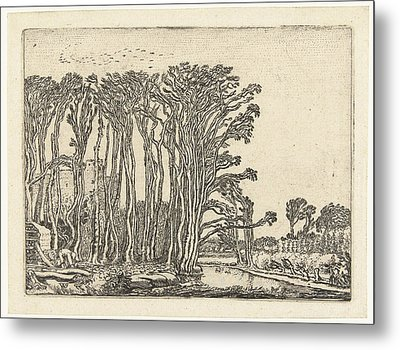 Landscape With Bare Trees At A Water Metal Print