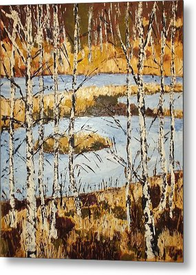 Metal Print featuring the painting Landscape With Birches by Zeke Nord