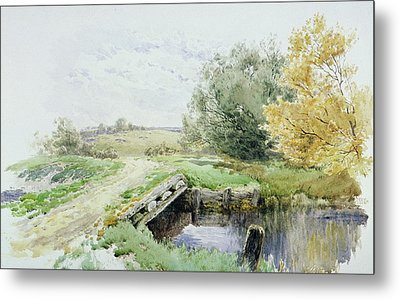 Landscape With Bridge Over A Stream Metal Print by John Clayton Adams