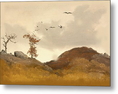 Landscape With Crows Metal Print by Karl Friedrich Lessing