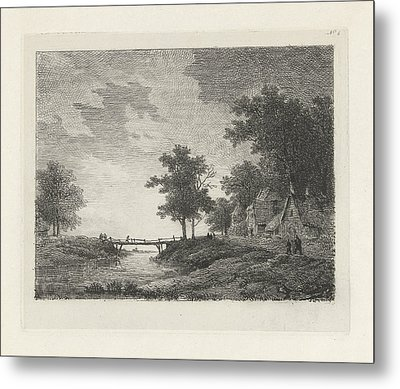 Landscape With Figures Near A Bridge, Print Maker Remigius Metal Print