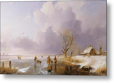 Landscape With Frozen Canal Metal Print by Remigius van Haanen