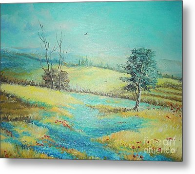 Metal Print featuring the painting Landscape With Lavanda  by Sorin Apostolescu