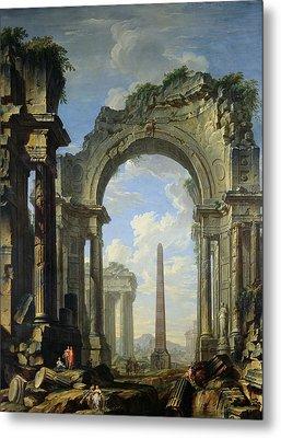 Landscape With Ruins Metal Print by Giovanni Niccolo Servandoni