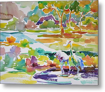Landscape With Sand Hill Cranes Metal Print by Roger Parent