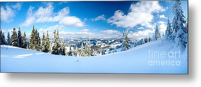 Landscape With Snow Covered Trees Metal Print by Boon Mee