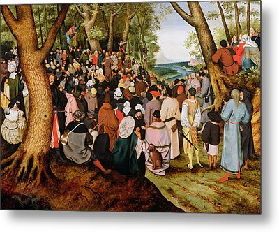 Landscape With Saint John The Baptist Preaching Metal Print by Pieter the Younger Brueghel