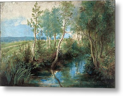 Landscape With Stream Overhung With Trees Metal Print by Peter Paul Rubens