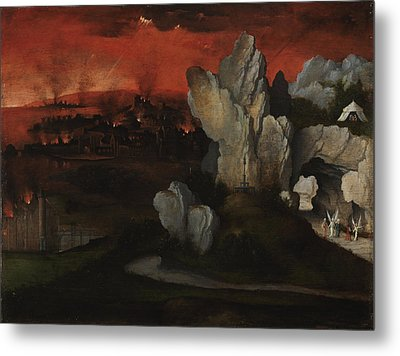 Landscape With The Destruction Of Sodom And Gomorrah Metal Print by Joachim Patinir