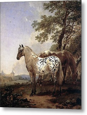 Landscape With Two Horses Metal Print by Nicolaes Berchem