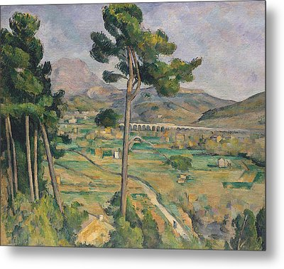Landscape With Viaduct Metal Print by Paul Cezanne