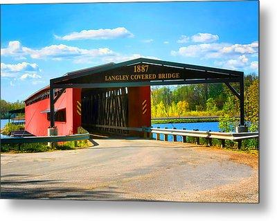 Langley Covered Bridge - Michigan Metal Print by Pat Cook