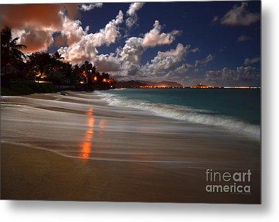 Lanikai Beach At Night View Of Kailua Bay  Metal Print