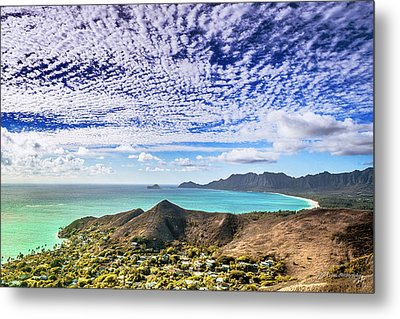 Lanikai Beach Cirrocumulus Clouds Metal Print