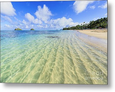Lanikai Beach Mid Day Ripples In The Sand Metal Print by Aloha Art