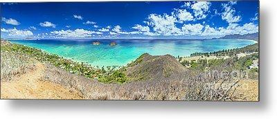 Lanikai Beach Panorama Metal Print by Aloha Art