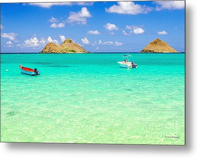 Metal Print featuring the photograph Lanikai Beach Two Boats And Two Mokes by Aloha Art