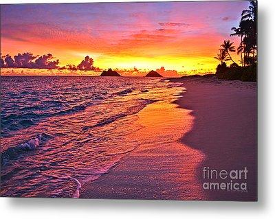 Lanikai Beach Winter Sunrise Rays Of Light Metal Print