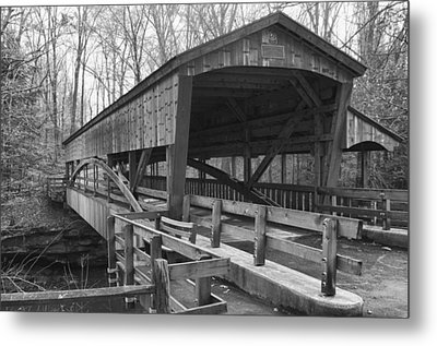 Lanterman Falls Covered Bridge Metal Print by Guy Whiteley
