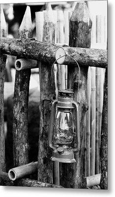 Lantern On Fence Metal Print