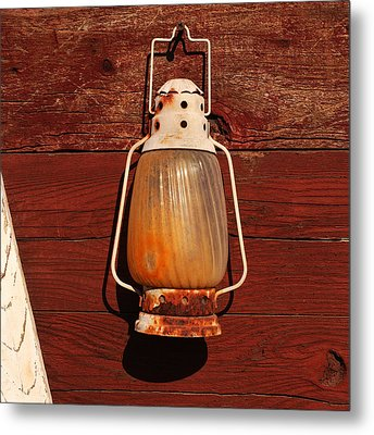 Lantern On Red Metal Print by Art Block Collections