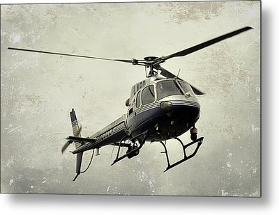 Lapd Helicopter Metal Print by Fraida Gutovich