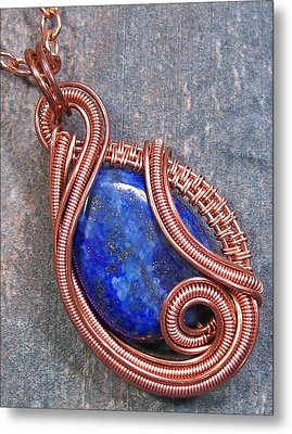 Lapis Lazuli And Copper Sculpted Coil Pendant Metal Print by Heather Jordan