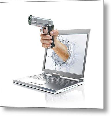 Laptop With Hand And Gun Metal Print