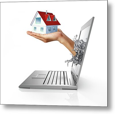 Laptop With Hand Holding Model House Metal Print