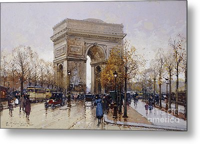 L'arc De Triomphe Paris Metal Print by Eugene Galien-Laloue