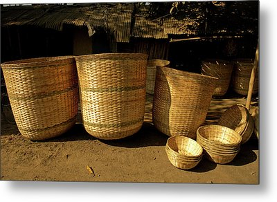 Large Baskets Woven From Cane Metal Print by Jaina Mishra