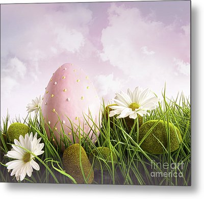 Large Pink Easter With Flowers In Tall Grass Metal Print by Sandra Cunningham