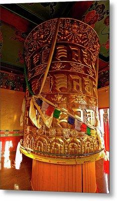 Large Prayer Wheel In A Buddhist Metal Print by Jaina Mishra