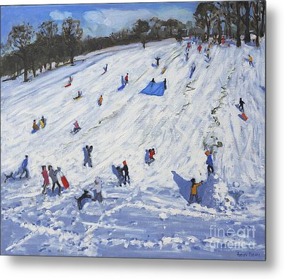 Large Snowman  Chatsworth Metal Print by Andrew Macara