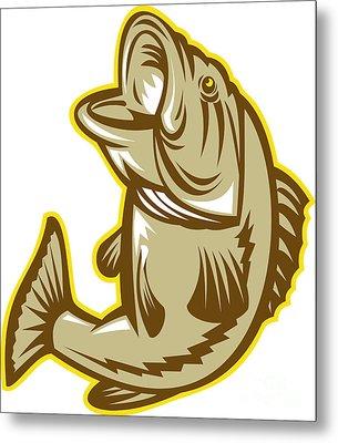 Largemouth Bass Fish Jumping Retro Metal Print by Aloysius Patrimonio