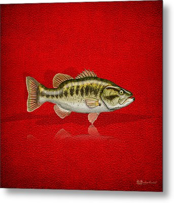 Largemouth Bass On Red Leather Metal Print by Serge Averbukh