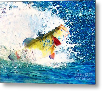 Largemouth Bass - Painterly Metal Print by Wingsdomain Art and Photography