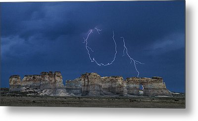 Lariat Lightning At Monument Rocks Metal Print by Rob Graham