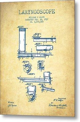 Laryngoscope Patent From 1937  - Vintage Paper Metal Print