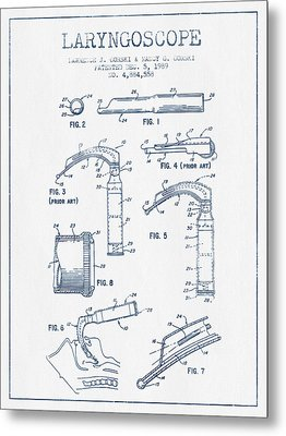 Laryngoscope Patent From 1989  - Blue Ink Metal Print by Aged Pixel