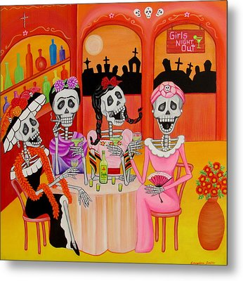 Metal Print featuring the painting Las Comadres by Evangelina Portillo