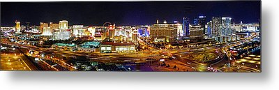 Las Vegas At Night - Panorama Metal Print
